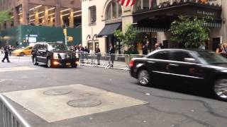 NYPD & UNITED STATES SECRET SERVICE ESCORTING A MOTORCADE DURING THE U.N. GENERAL ASSEMBLY MEETINGS.