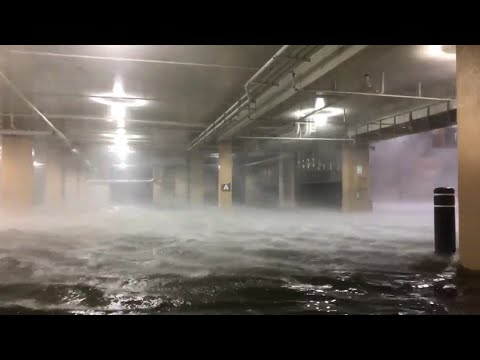 Dramatic scene as storm surge floods Biloxi casino car park