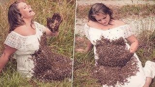 Hamile Kadın 20.000 Arı ile Fotoğraf Çektirdi. - Doğumdan Önce Beklemediği Korkunç Bir Şey Oldu.