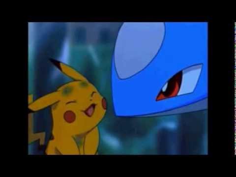 Cute Pokemon moment: Latios licks Pikachu's cheek