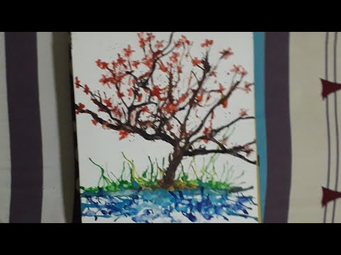 How to make tree using blow painting technique|blow painting for begginers