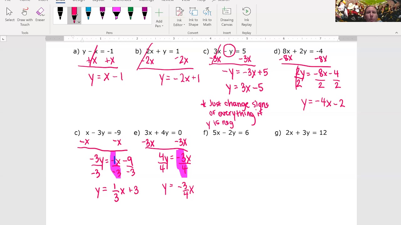 writing linear equations in function form  youtube