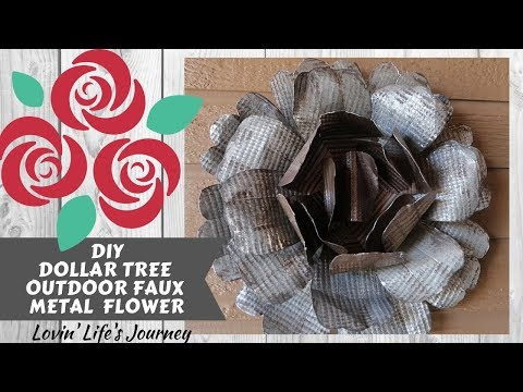 Dollar Tree DIY Outdoor Faux Metal Flower | Metal Rose | Garden Decor