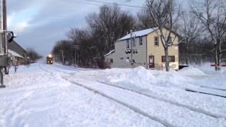 2 trains hit a HUGE snow pile!!!