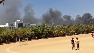 Airshow fire accident smoke arising near REVA UNIVERSITY GROUND(2)
