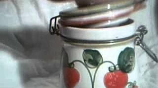 Vintage Ceramic Storage Container - with Strawberries