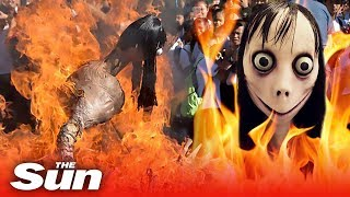 Momo effigy burned at the stake | Momo Challenge