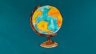 Рисунок глобуса мира | Простые рисунки карандашами