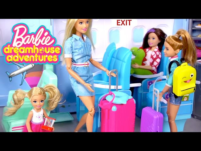 Barbie Family Vacation - Airplane Travel Routine & Beach Hotel