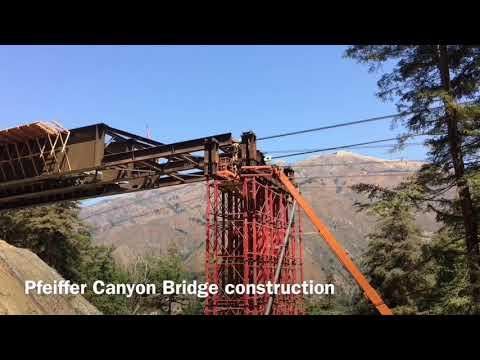 Pfeiffer Canyon Bridge girder launch in Big Sur