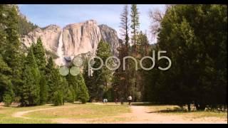 Family Riding Bikes In Yosemite National Park 4K - stock video