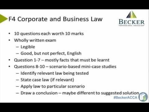 F4 Corporate and Business Law: Getting Started on your ACCA Skills Papers