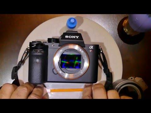 How to clean Sony alpha 7R mk 2 camera sensor using DHAP Orange Swab 1.0x / 24 mm and VDust Plus