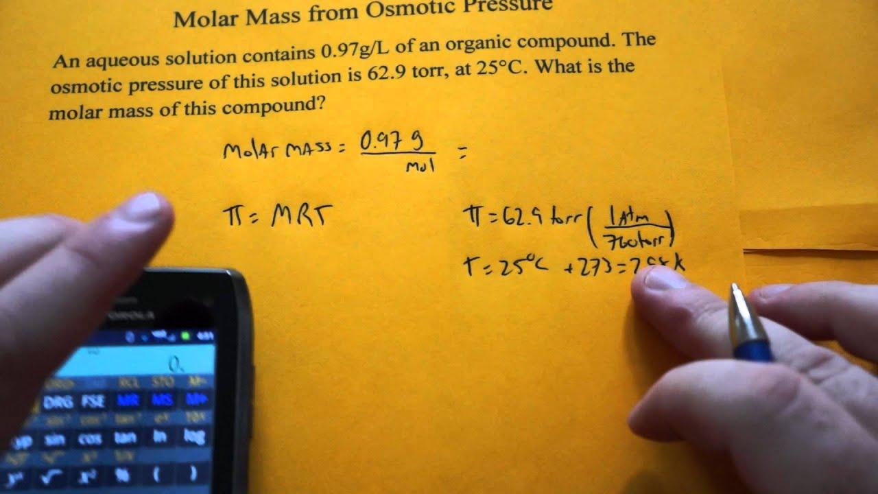 Calculating Molar Mass Using Osmotic Pressure