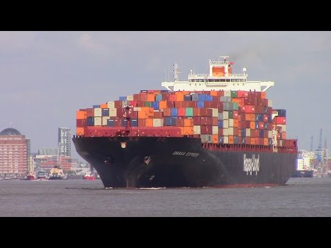 Container Ship OSAKA EXPRESS departing Hamburg, Germany on Eble River (June 16, 2015)