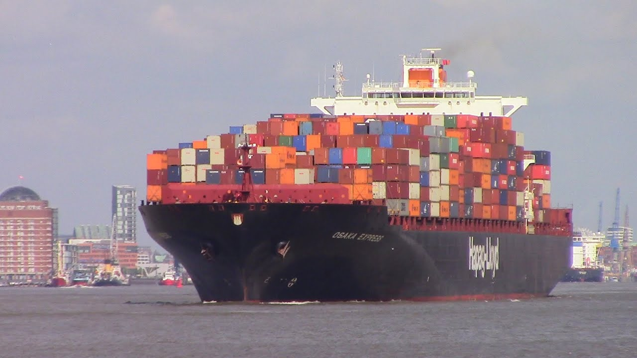Container Ship OSAKA EXPRESS departing Hamburg, Germany on Eble River (June  16, 2015)