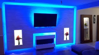 DIY TV WALL | Led lighting | TV FEATURE WALL | wall hung tv | split face tiles | floating wall