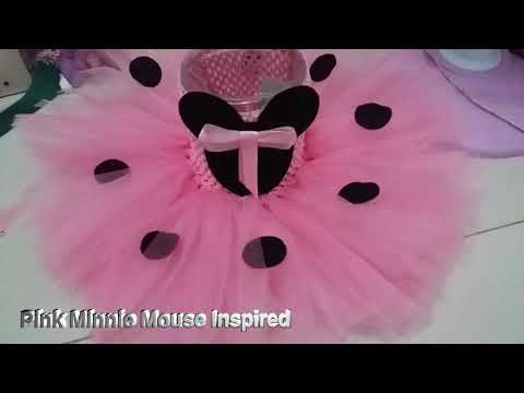 Pink W/ Black Minnie Mouse Inspired Tutu Dress For Girls Birthday By DJs Tutu Dress