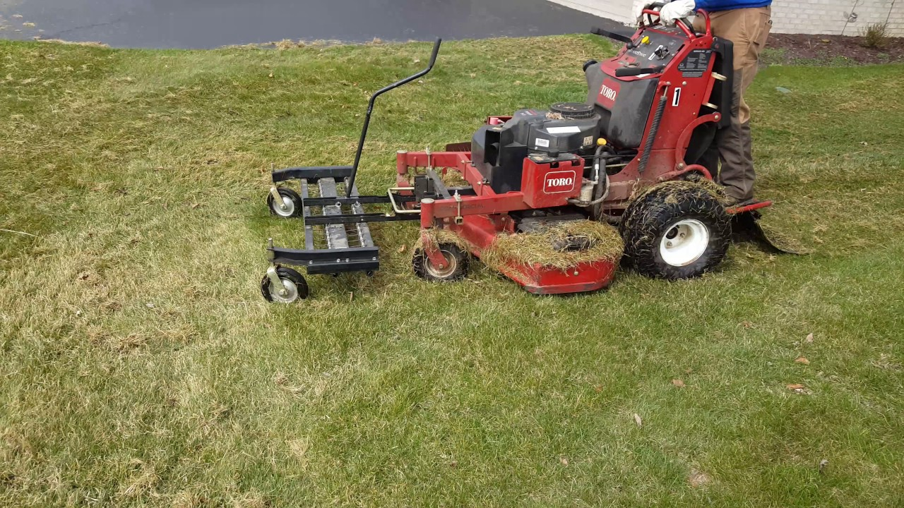 Lawn Dethatching With Toro Grandstand And Jrco Dethatcher