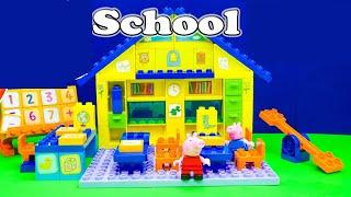 بيبا الخنزير مدرسة بيت ليغو كتل لعبة علبته