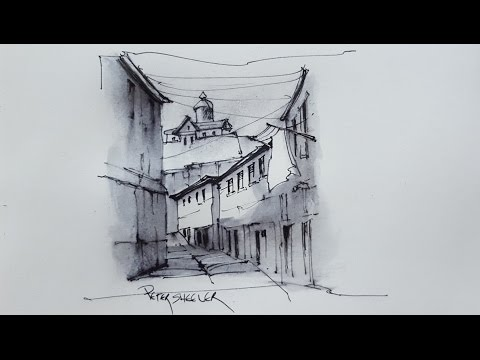 How to draw with soluble ink. Pen and Water Brush. A Sunlit Alley with Shadows