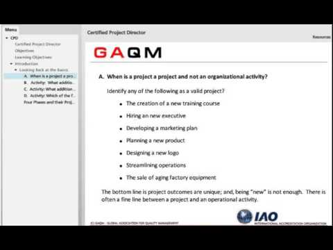 Certified Project Director CPD certification from GAQM
