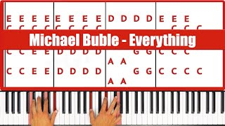 How To Play Everything Michael Buble Piano Tutorial - ♫ EASY
