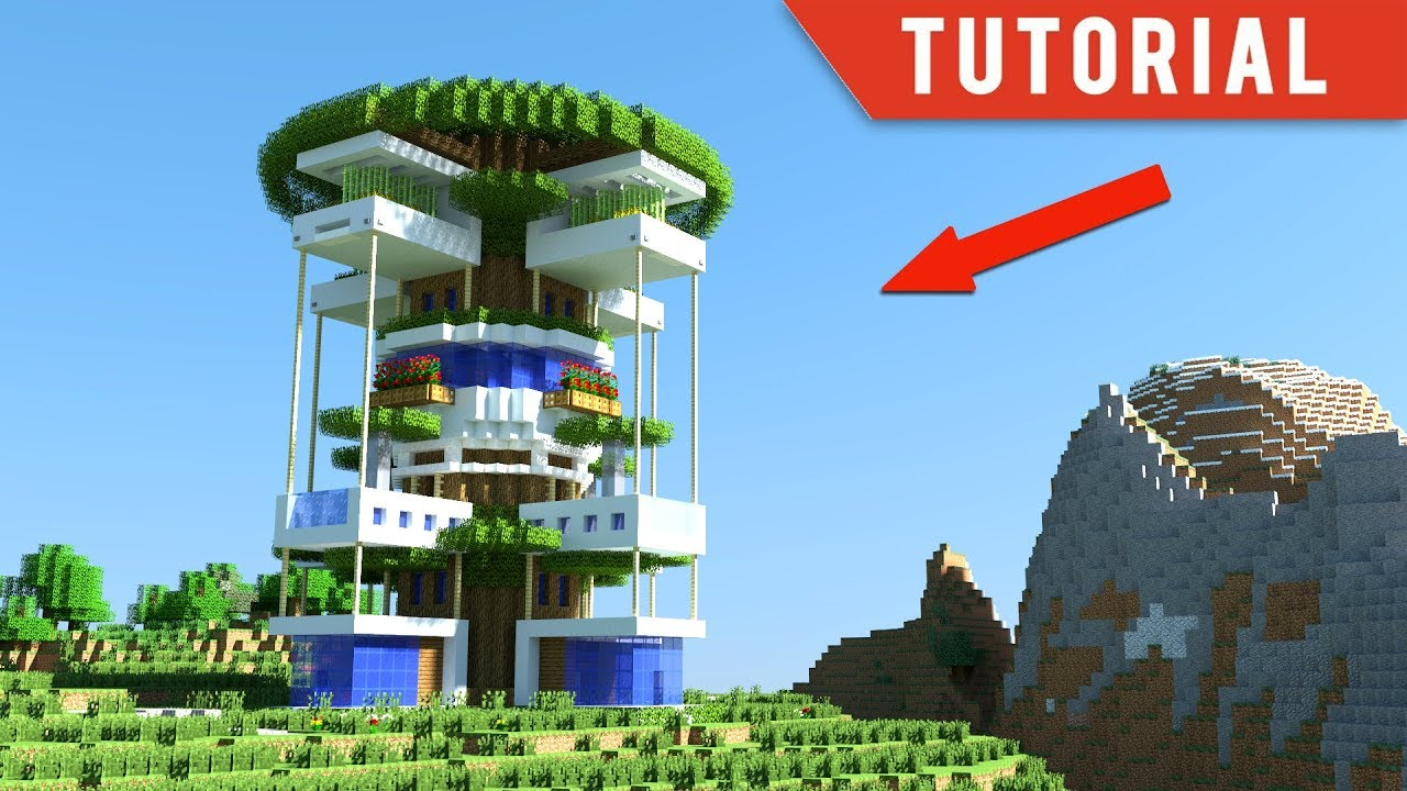 Minecraft How To Build A Modern Tree House Modern Treehouse Tutorial How To Make 2018 Youtube