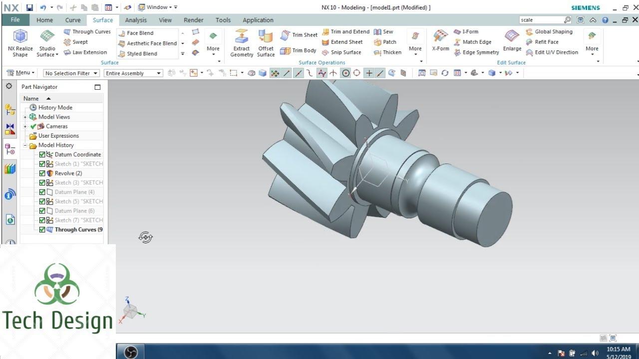Download Unigraphics NX- Part Modeling Example 5 II Bevel Gear
