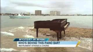 Piano Appears on Sandbar in Miami