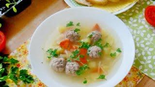 Суп с фрикадельками и вермишелью без зажарки для детей и ПП
