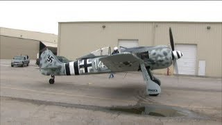 Focke-Wulf FW 190 WWII Fighter Startup.  BIG Backfire, Yow!