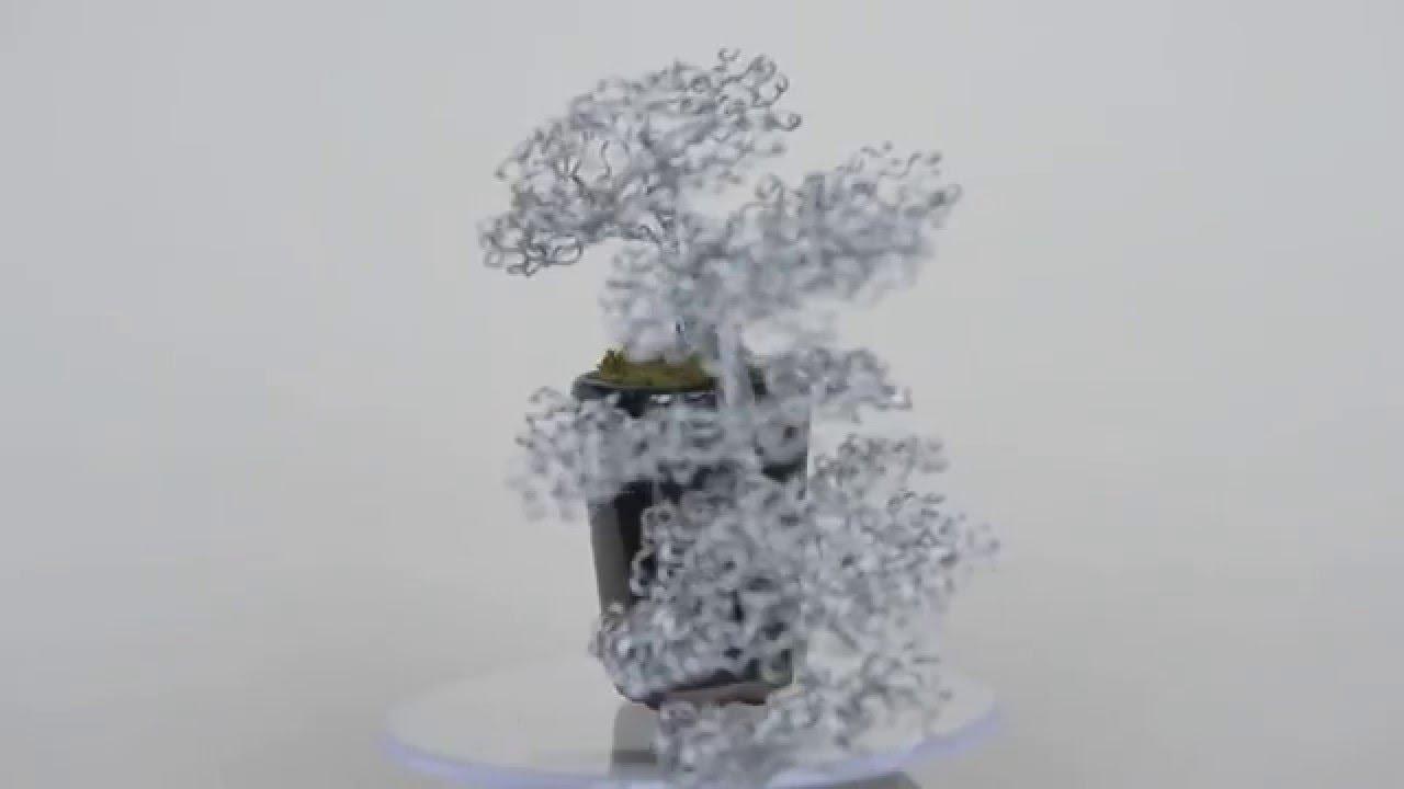 Cascade Bonsai Wire Tree Sculpture in black pot. - YouTube