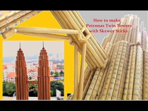 Miniature Petronas Twin Towers With Skewer Sticks | Step-by-step Tutorial