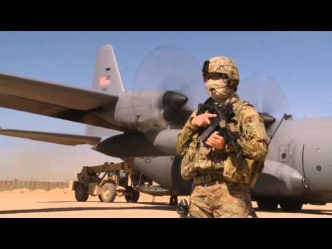 455th ESFS Security Team Guard C-130H Hercules in Qalat, Afghanistan