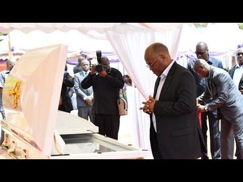 Rais Magufuli katika misa ya kuuaga mwili wa Mercy Anna Mengi