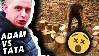Adam vs Tata #117 Cięcie i rąbanie klocków drewna!