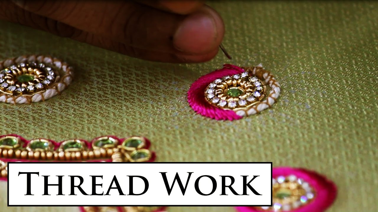 Embossed Thread Work Making Hd Video Indian Hand Embroidery Youtube