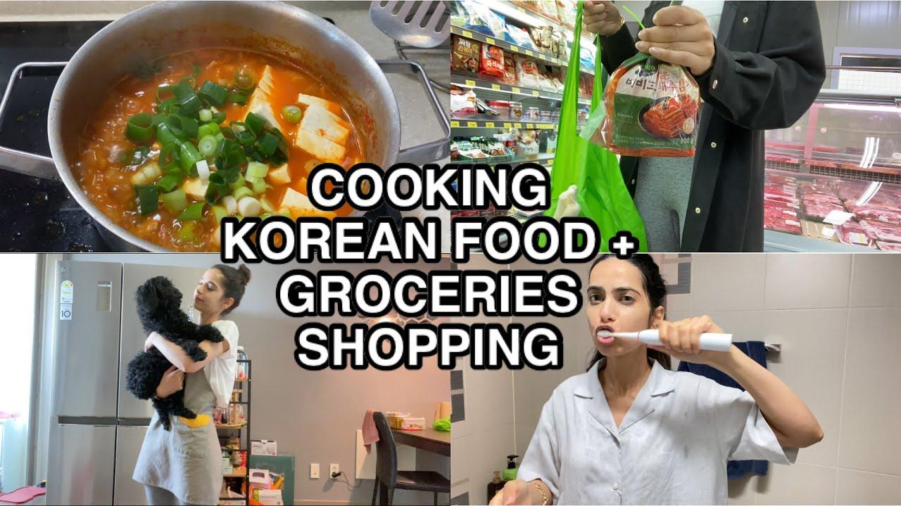 COOKING KOREAN FOOD + GROCERIES SHOPPING | vlog