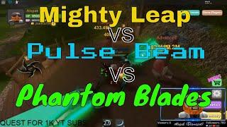 Mighty Leap vs Pulse Beam vs Phantom Blades Dungeon Quest Roblox Ghastly Harbor Warrior Spells