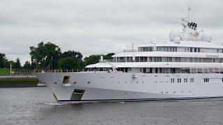 4K | Mega Yacht GOLDEN ODYSSEY back at Lurssen shipyard