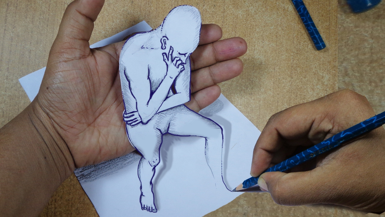 How To Draw 3d Cartoon On Paper Draw 3d Optical Illusions Youtube