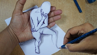 How to Draw 3D Cartoon on Paper | Draw 3D Optical illusions ✔