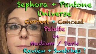sephora pantone correct conceal palette medium dark review   swatches