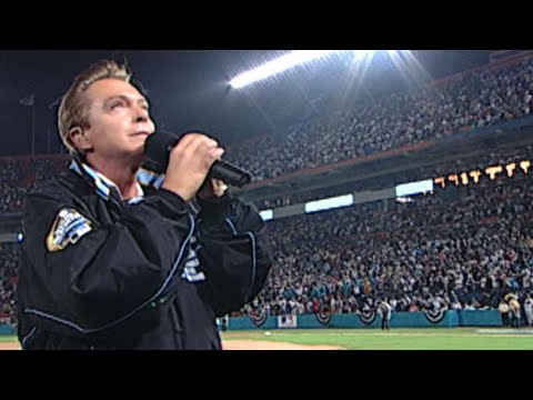 2003 WS Gm3: David Cassidy performs God Bless America
