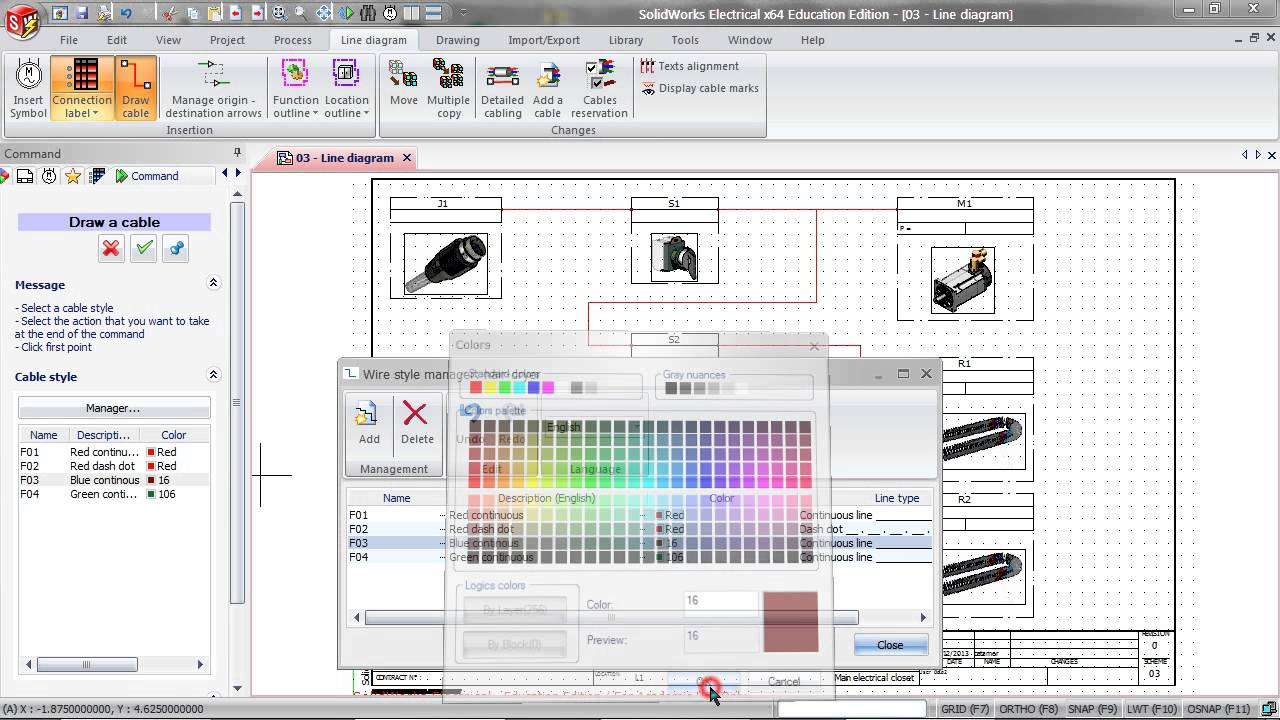 SolidWorks Electrical 2D: Line Diagrams & Locations  YouTube