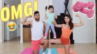HILARIOUS FAMILY WORKOUT CHALLENGE!!!