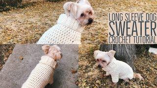 Warm Chunky Long Sleeve Dog Sweater Crochet Tutorial