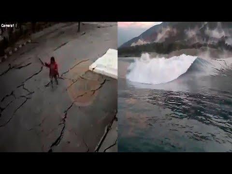 ASI ES EL MOMENTO EXACTO DEL TERREMOTO Y TSUNAMI EN INDONESIA  2018 NUEVAS IMÁGENES IMPACTANTES