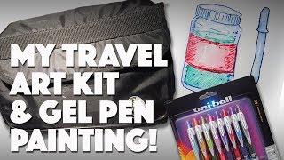 My Travel Art Kit & Gel Pen Painting // Uni Ball Review